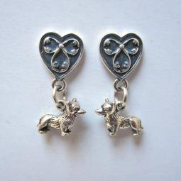 Corgi Heart Sterling Silver Earrings