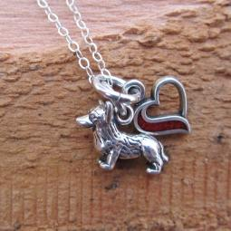 Corgi In My Heart Mini Sterling Silver Necklace