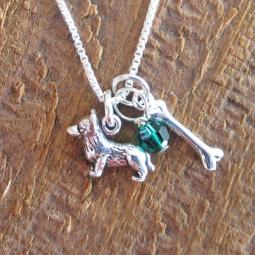 Corgi Dog Bone Mini Sterling Silver Necklace