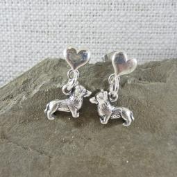 Corgi Mini Heart Sterling Silver Earrings