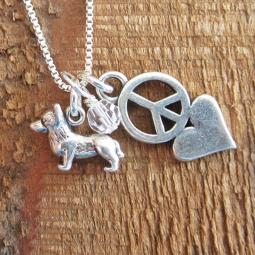 Corgi Mini Peace Love Sterling Silver Necklace