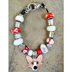 "Corgi 7.5"" Silver & Glass Bracelet (one of a kind)"