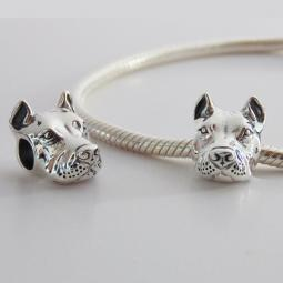 Cropped Ear Pit Bull Charm (Sterling Silver) and Bracelet