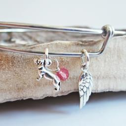 Dachshund Mini Angel Wing Stackable Bangle Bracelet