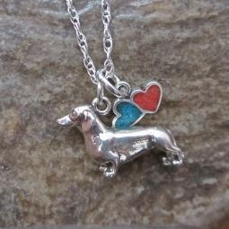 Dachshund Large Double Heart Sterling Silver Necklace