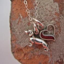 Dachshund In My Heart Mini Sterling Silver Necklace