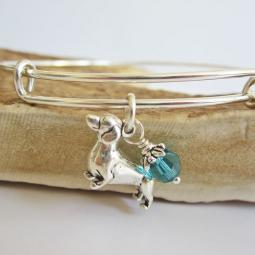 "Dachshund Large Dangle Stackable Bangle Bracelet (2.5""-3"