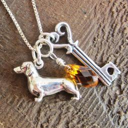 Dachshund Large Key To My Heart Sterling Silver Necklace