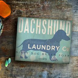 Dachshund Laundry Company Silhouette 8x10, 11x14 Giclee Print