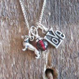Dachshund Love Mini Sterling Silver Necklace