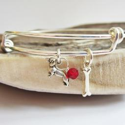 Dachshund Mini Bone Stackable Bangle Bracelet