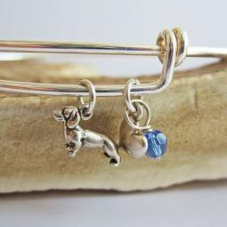 "Dachshund Mini Heart Stackable Bangle Bracelet (2.5""-3"")"