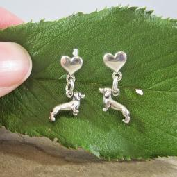 Dachshund Mini Heart Sterling Silver Earrings
