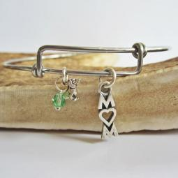 "Dachshund Mom Stackable Bangle Bracelet (2.5""-3"")"