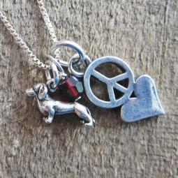 Dachshund Mini Peace Love Sterling Silver Necklace