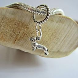 Dachshund Mini Ster Silver European-Style Charm and Bracelet