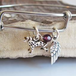 Dalmatian Mini Angel Wing Stackable Bangle Bracelet