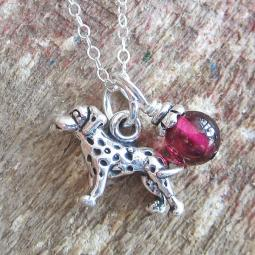 Dalmatian Glass Bead  Sterling Silver Necklace