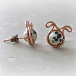 Dalmatian Jasper Dog Post Earrings - Copper