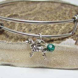 "Dalmatian Mini Dangle Stackable Bangle Bracelet (2.5""-3"")"