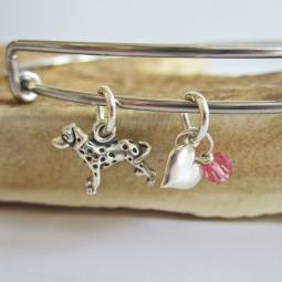 "Dalmatian Mini Heart Stackable Bangle Bracelet (2.5""-3"")"
