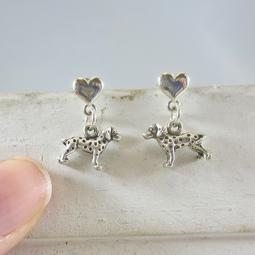 Dalmatian Mini Heart Sterling Silver Earrings
