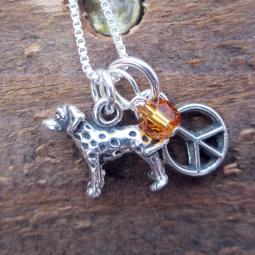 Dalmatian Mini Peace Sterling Silver Necklace