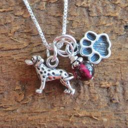 Dalmatian Mini Paw Print Sterling Silver Necklace