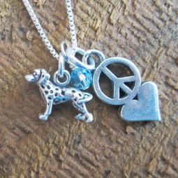 Dalmatian Mini Peace Love Sterling Silver Necklace