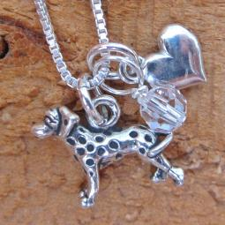 Dalmatian Mini Heart Sterling Silver Necklace