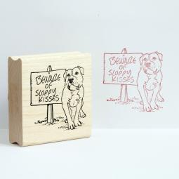 Sloppy Kisses Pit Bull Rubber Stamp