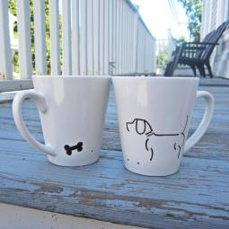 Set of Two Dog and Bone Handpainted 12oz. Mugs