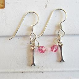 Dog Bone Birthstone Sterling Silver Earrings
