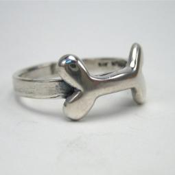 Dog Bone Sterling Silver Ring