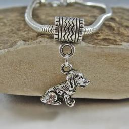 Sitting Dog Pewter European-Style Charm and Bracelet