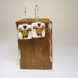 Happy Dog Glass Earrings