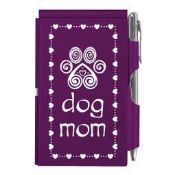 Dog Mom Purple Paw Print Slim Notepad and Pen