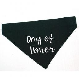 Dog of Honor Black Canvas Dog Bandana