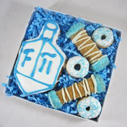 Happy Hanukkah Dreidel Donut and Cannoli Dog Treat Assortment