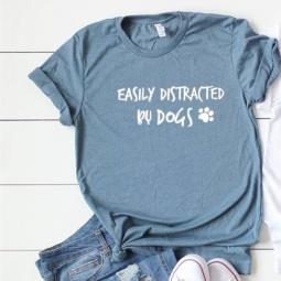 Easily Distracted By Dogs T-Shirt Denim Triblend