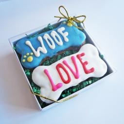 Woof Love Times Two Dog Treat Gift Box