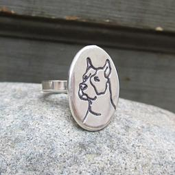 Etched Pit Bull Sterling Silver Ring