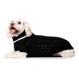 XL Black Cable Knit Dog Sweater
