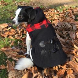 XL Red and Black Plaid Toggle Dog Coat