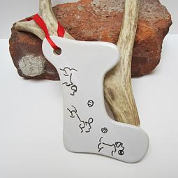 Fetch Dog Stocking Ceramic Christmas Ornament