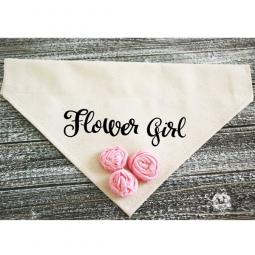 Flower Girl Canvas Dog Bandana with Pink Flowers
