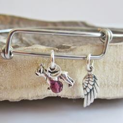 French Bulldog Mini Angel Wing Stackable Bangle Bracelet