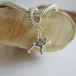 French Bulldog Mini Str Silver European-Style Charm and Bracelet