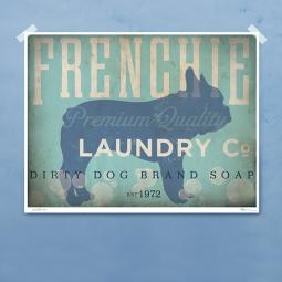 Frenchie Laundry Company Silhouette 8x10, 11x14 Giclee Print