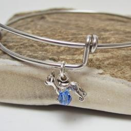 "French Bulldog Mini Dangle Stackable Bangle Bracelet (2.5""-3"")"
